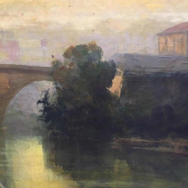 ROME CASTEL SANT'ANGEL - Antonio Crespi Italian Oil on Canvas Landscape Painting For Sale 6