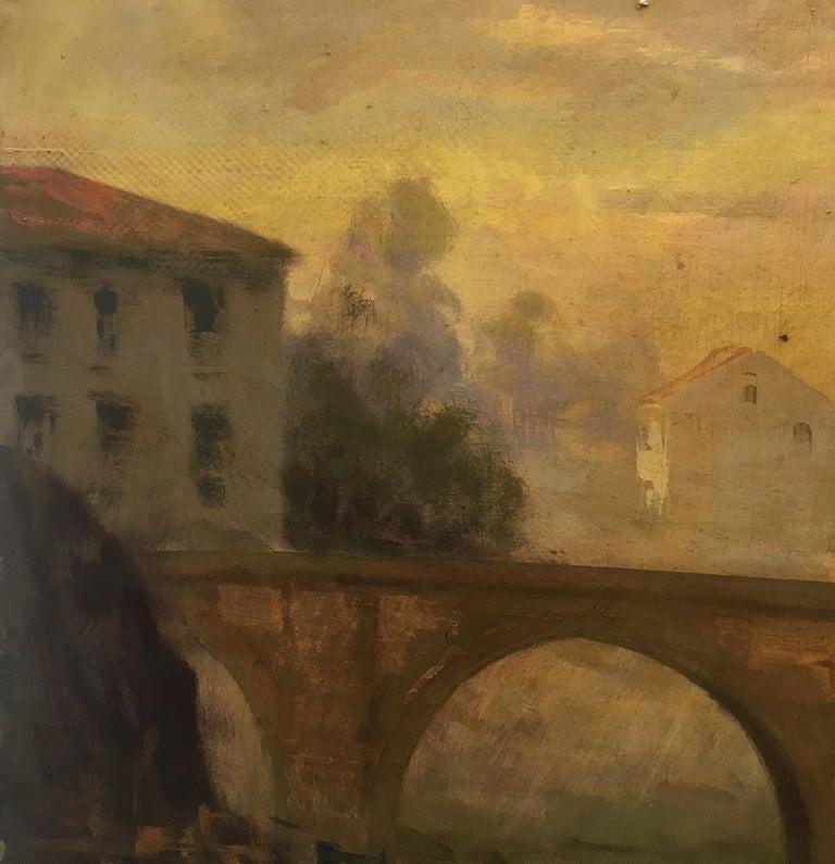 ROME CASTEL SANT'ANGEL - Antonio Crespi Italian Oil on Canvas Landscape Painting For Sale 7
