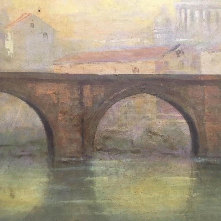 ROME CASTEL SANT'ANGEL - Antonio Crespi Italian Oil on Canvas Landscape Painting For Sale 8