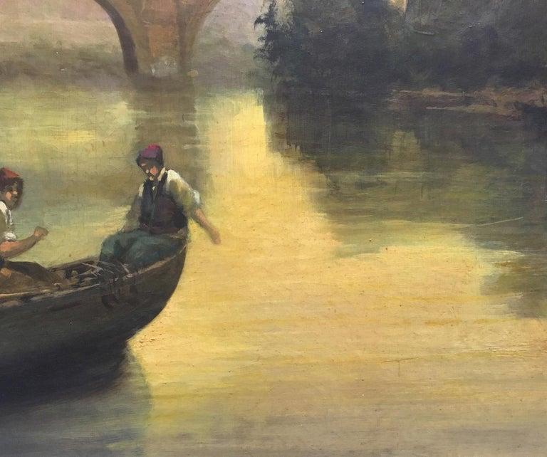 ROME CASTEL SANT'ANGEL - Antonio Crespi Italian Oil on Canvas Landscape Painting For Sale 9