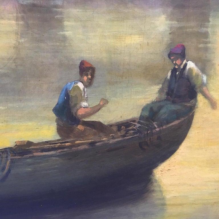ROME CASTEL SANT'ANGEL - Antonio Crespi Italian Oil on Canvas Landscape Painting For Sale 10