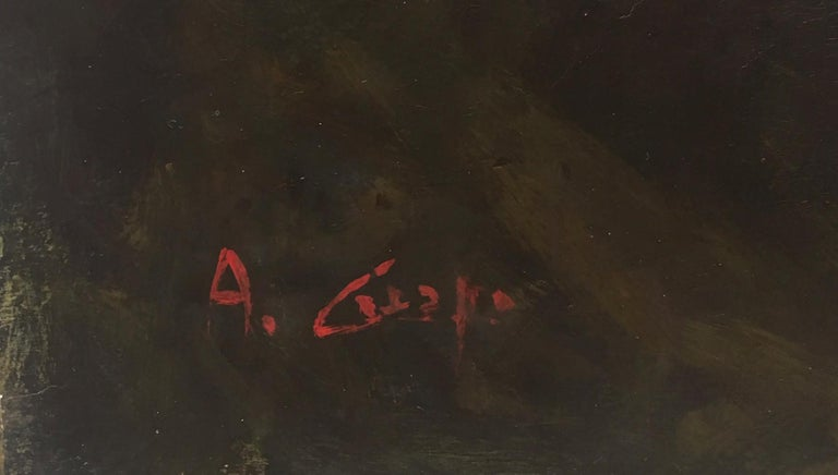 ROME CASTEL SANT'ANGEL - Antonio Crespi Italian Oil on Canvas Landscape Painting For Sale 11