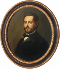 Portrait of a Gentlemen - E. De Blasi Portrait Italian Oil on Canvas Painting