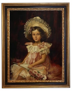 PORTRAIT OF LITTLE GIRL - German School Italian Oil on canvas painting,