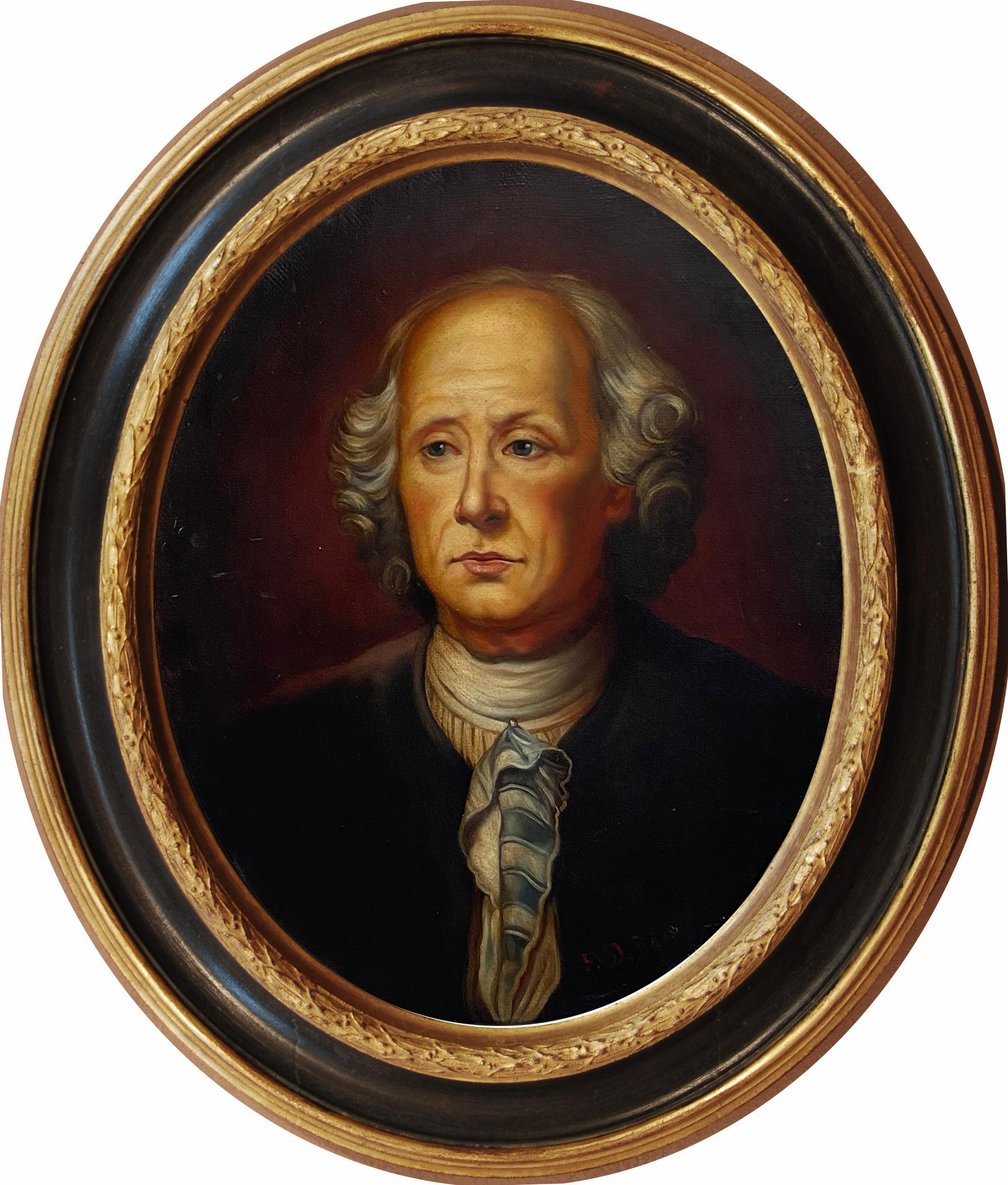 PORTRAIT OF A GENTLMEN - French School -Portrait Italian Oil on Canvas Painting