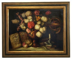 Flowers - Luigi Degli Espositi Oil on Canvas Italian Still Life Painting