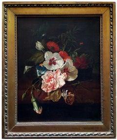 FLOWERS - Italian still life oil on canvas painting, J. Robis