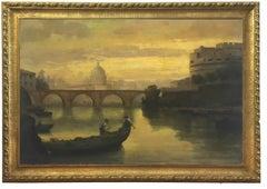 ROME CASTEL SANT'ANGEL - Italian School Italian Oil on Canvas Landscape Painting