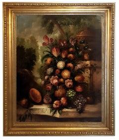FLOWERS -  Oil on Canvas Italian Still Life Painting