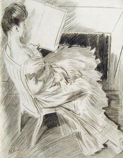 Madame Helleu Lisant devant la Cheminée - Conté Crayon, Charcoal on Paper