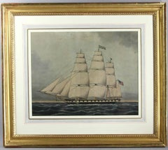 19th C. Marine Watercolor Painting of an American Clipper Ship by Jurgen F. Huge