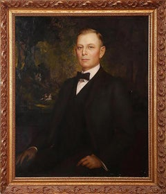 Large Charles Naegele (Tennessee) Portrait Oil Painting of a Gentleman