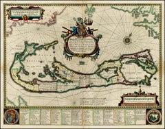 """Rare 17th Cenury Hand Colored """"Mappa Aestivarum Insularum Alias Barmudas"""""""