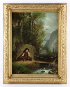 "19th Century Oil Landscape by George Brainerd Burr ""Waiting by the Foot Bridge"""