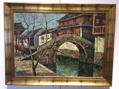 Y. H. Xie Oil Painting of Village Canal with Rock Bridge