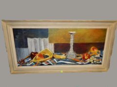 Mid Century Modern Oil Painting Still Life-Fruit, Signed LL Ruth M. Houtz