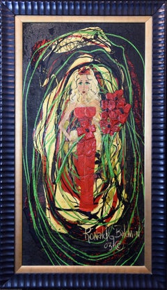 """Large Modern Portrait Painting Entitled """"Lady in Red"""" by Ron Baldwin"""