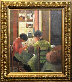 George Bramanta-Original Oil Painting on canvas-Girls Sewing