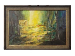 "Oil on Board of Landscape ""Sun Woods"" - Signed Mary Crutchfield"