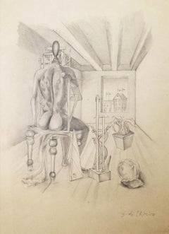 Original Italian Drawing by Giorgio De Chirico, Metaphysical Interior, 1916