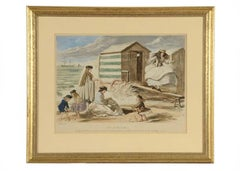 """John Leech 1865 Chromolithograph """"Scene at Sandbatte"""""""