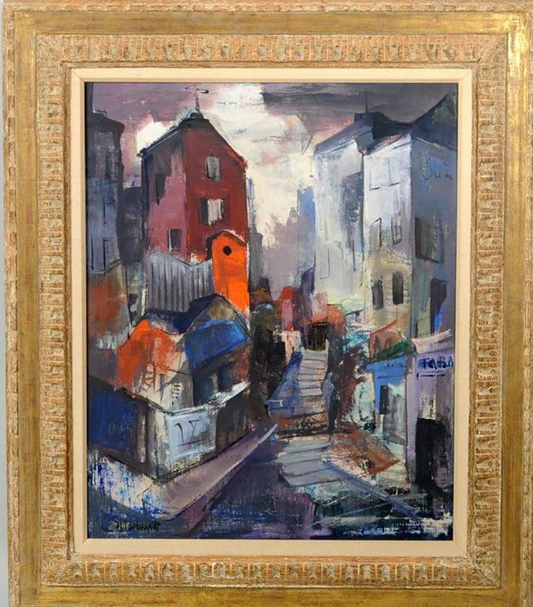 """Signed Bert Hildebrand, """"Street Scene"""" Oil Painting - Brown Abstract Painting by Bert Hildebrand"""