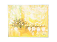 Lee Reynolds Oil Painting of Abstract Cityscape