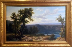 """Franz Kneble Swiss Landscape Oil Panting """"View of the Roman Campagne"""", 1864"""