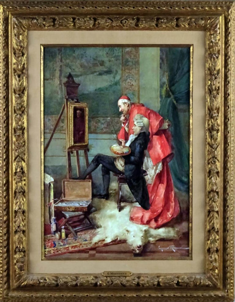 "Remarkable watercolor and gouache painting by the important and well listed Italian artist Cipriano Mannucci (Italy, 1882 – 1970)  Entitled ""Cardinal's Portrait""  Depicts a Cardinal carefully inspecting his portrait being painted by an important"