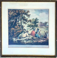"18th Century George Morland Hand Colored Engraving ""Tired Gypsies"""