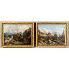 Two 19th Century Oil Paintings of  Mountain Views by Rang