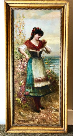 "Egisto Ferroni Italian Portrait Oil Painting Entitled ""Woman with a Basket"""