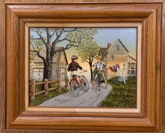 H Hargrove Painting Serigraph with Certificate Number 'Puppy Love Boy Girl Bicyc