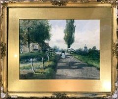 19th c. Dutch Landscape Watercolor Painting by Charles Paul Gruppe