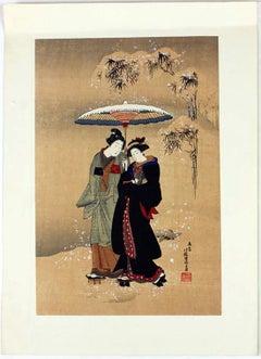 "Japanese Ukiyo-e woodblock print by Isoda Koryusai entitled ""A BEAUTY IN THE SNO"