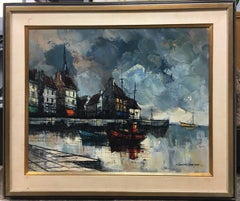 Marine Oil Painting by M Edward Griff A HARBOR SCENE