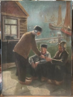 "Early 20th Century Dutch Oil Painting by Nathan Holland ""Men on Boating Dock"""