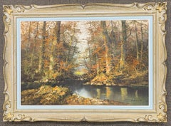 """Original Oil Painting by J. Silvana """"Forest Stream"""" Landscape"""