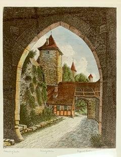 "Hand-Colored Etching ""Rothenburg ob der Tauber"" by Ernst Grissendorfer"