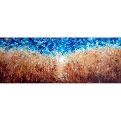 Original Modern Acrylic on Canvas Wheat with Flower Flies by Alexandra Macouzet