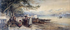 19th c. Italian Figural Landscape Watercolor Painting Lombardy, Italy