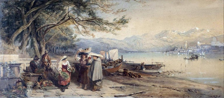 Unknown Landscape Art - 19th c. Italian Figural Landscape Watercolor Painting Lombardy, Italy