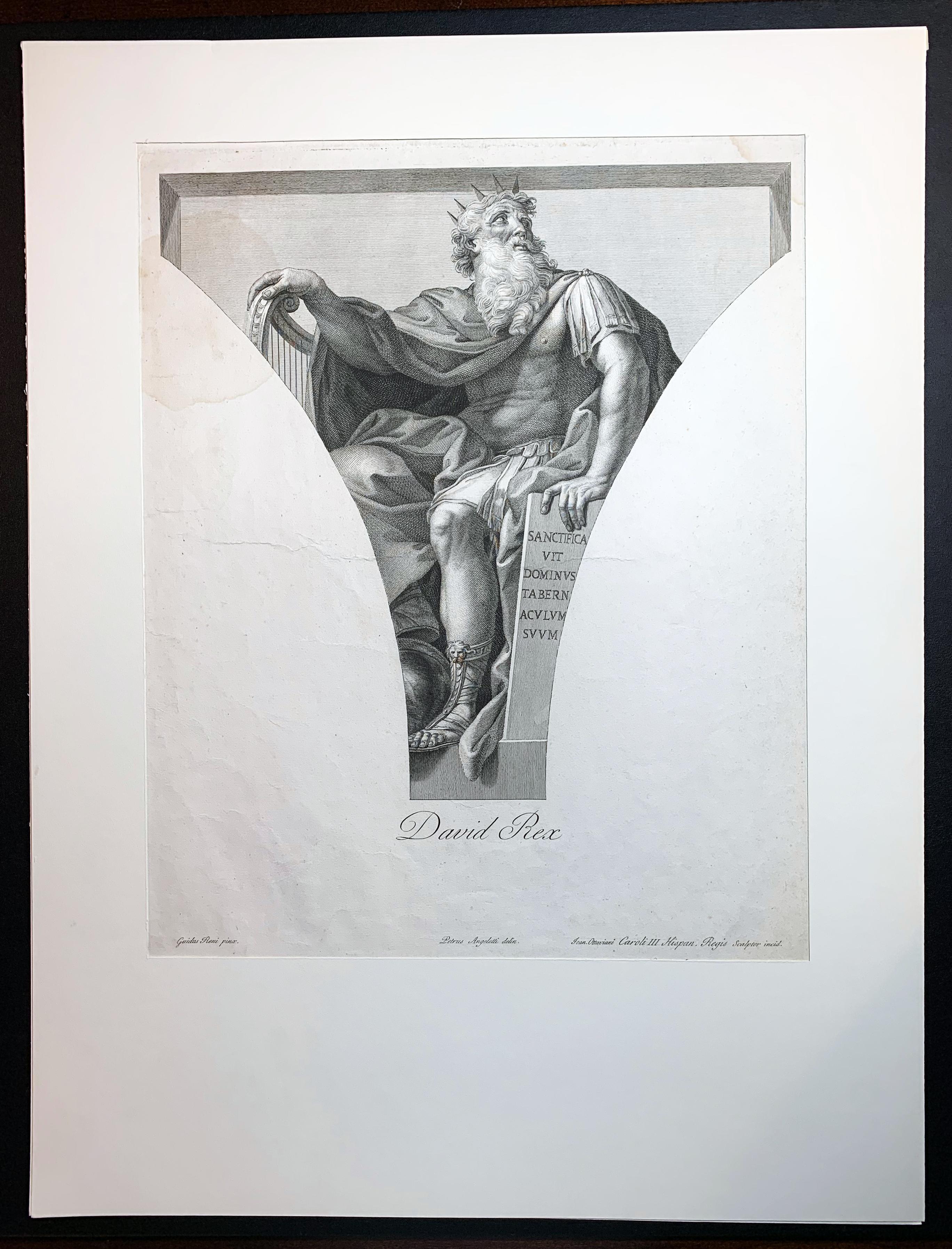"18th C. Engraving ""DAVID REX"" After Guido Reni by Carlo & Giovanni Ottaviani"