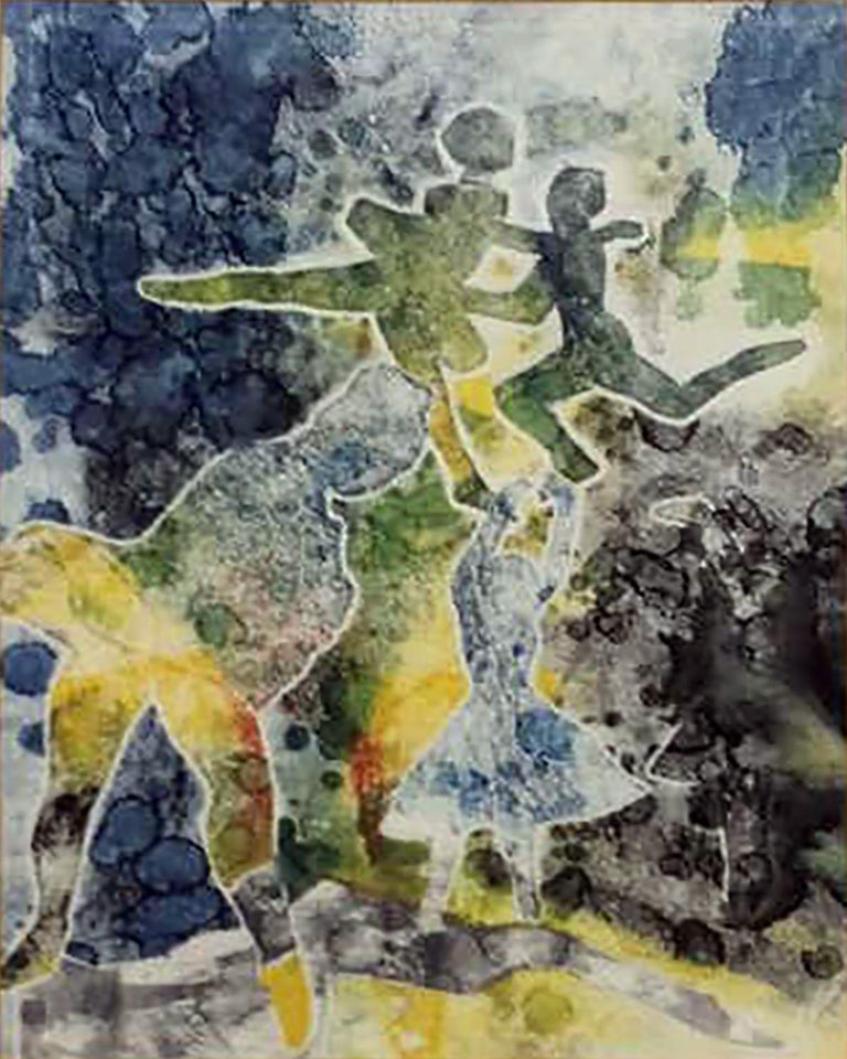 Abstract Expressionism watercolor / mixed media painting by well listed Israeli modernist Joseph Weiss (Romanian, 1916 - 2003, Israel) Entitled BALLET DANCERS  Watercolor on paper  Circa 1981  Signed by the artist in lower center  Matted and framed