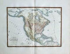1825 Engraved H/C Map CARTE DE L'AMERIQUE SEPTENTRIONALE Adrien-Hubert Brué