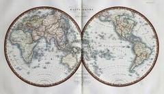 1821 H/C Engraved Map MAPPE-MONDE EN DEUX HÉMISPHÈRES Adrien-Hubert Brué
