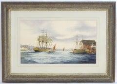 Ken Hammond, XX, Marine School, Watercolor, An Estuary Scene with Clipper Ships