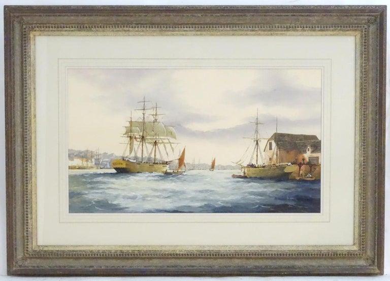 Ken Hammond, XX, Marine School, Watercolor, An Estuary Scene with Clipper Ships - Painting by Ken Hammond