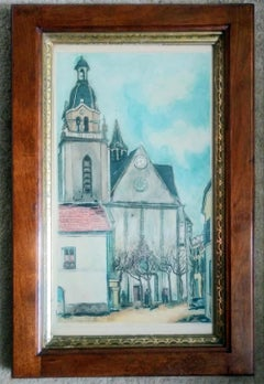 Antique Maurice Utrillo L'EGLISE DE LIMOURS French Engraving