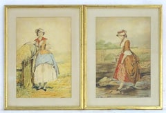 Pair of 19th c. English School Watercolor Portrait Paintings